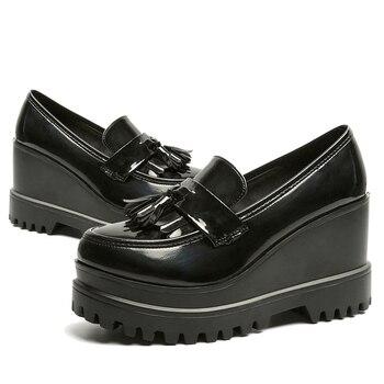 MCCKLE Autumn Women Creepers Platform Casual High Heels Tassels Female Footwear Patent Leather Wedge Shoes Ladies Slip On Shoe
