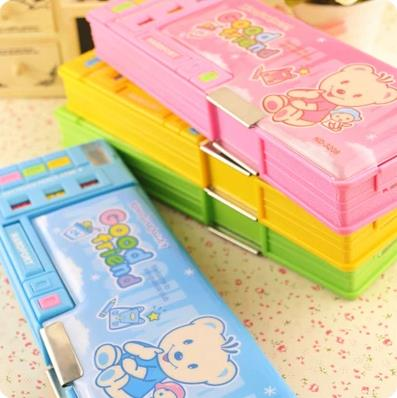 New hot Cartoon multifunctional pencil box double faced children stationery box primary school students gifts free shipping ювелирные серьги ku