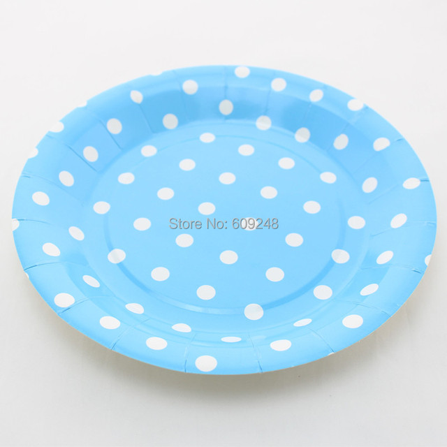 24pcs 9  Cheap Birthday Wedding Holiday White Polka Dot Blue Picnic Paper PlatesRound  sc 1 st  AliExpress.com & 24pcs 9