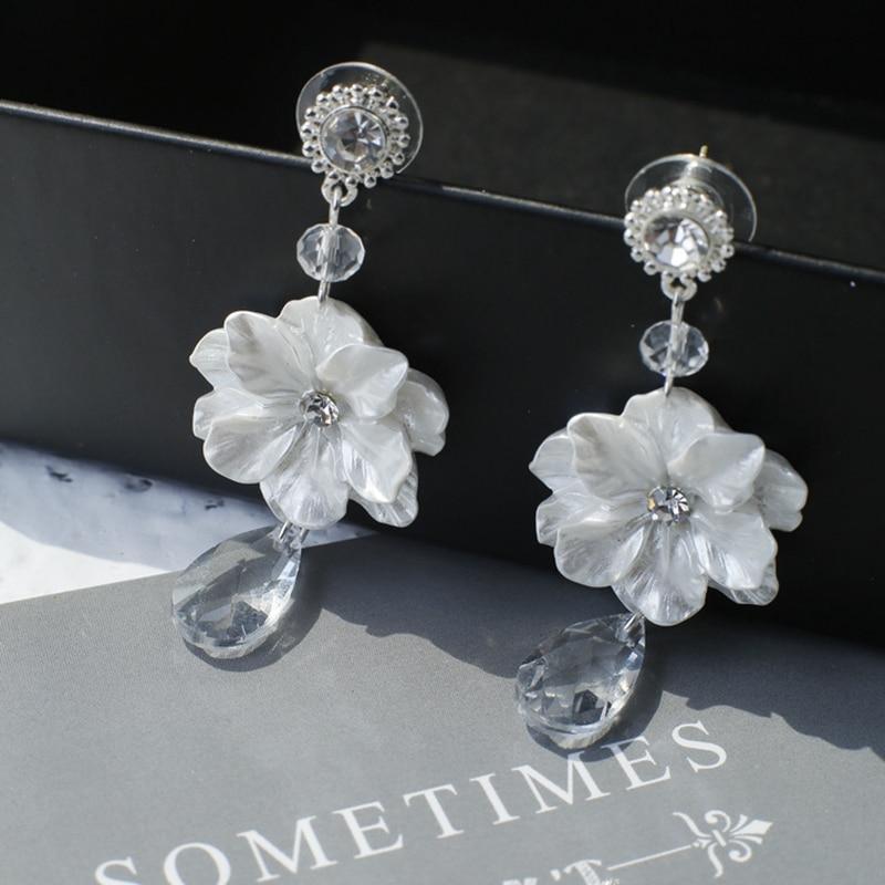 100% QualitäT Große Weiße Blume Clip Auf Ohrringe Ohne Piercing Nette Lange Quaste Hochzeit Ohrringe Clips Kristall Vintage Koreanische Ohrringe Offensichtlicher Effekt