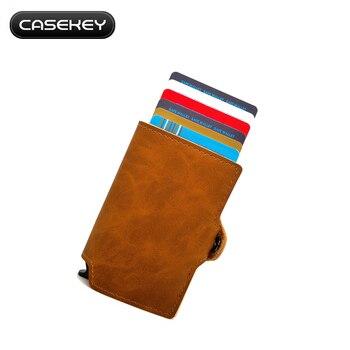 2813b5290 CaseKey soporte de tarjeta de crédito de aluminio de Metal inoxidable con  RFID/NFC bloqueo Pu vintage de cuero Mini cartera logotipo personalizado