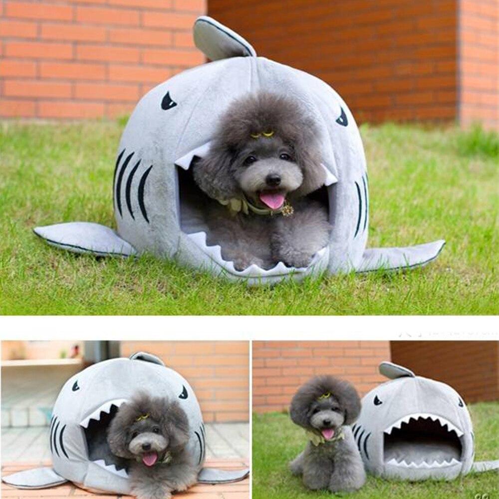 Tiburón Camas Del Perro Casa de Perro Caliente Suave Con Sonido Perro Masticar J