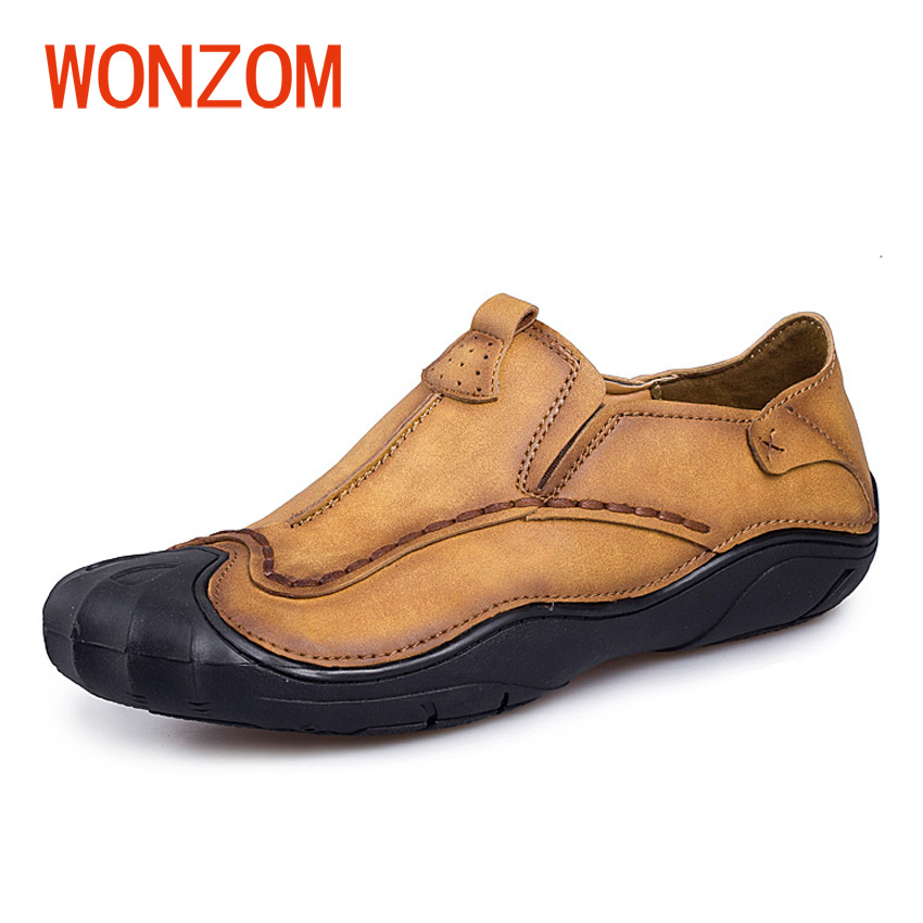 WONZOM New Men Flat Slip On Loafers Fashion Leather Casual Shoes Comfortable Soft Breathable Moccasin Driving Sapatos Homens new fashion boat shoes men slip on real leather loafers breathable driving shoes men soft moccasins comfortable casual shoe