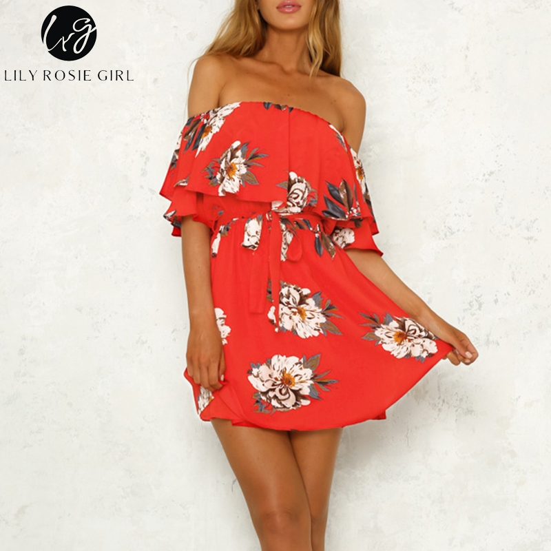 1affe07f207d0 Lily Rosie Girl Red Floral Prints Ruffles Women Mini Dress 2018 Sexy ...