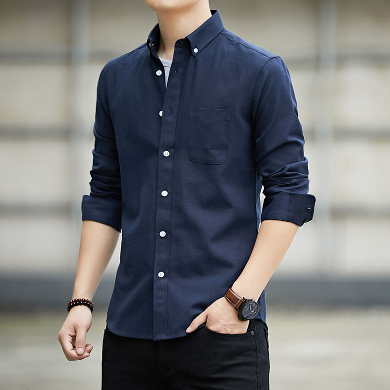 High-quality long-sleeved shirts for men's leisure Korean version of young and middle-aged Oxford white shirts in spring 2