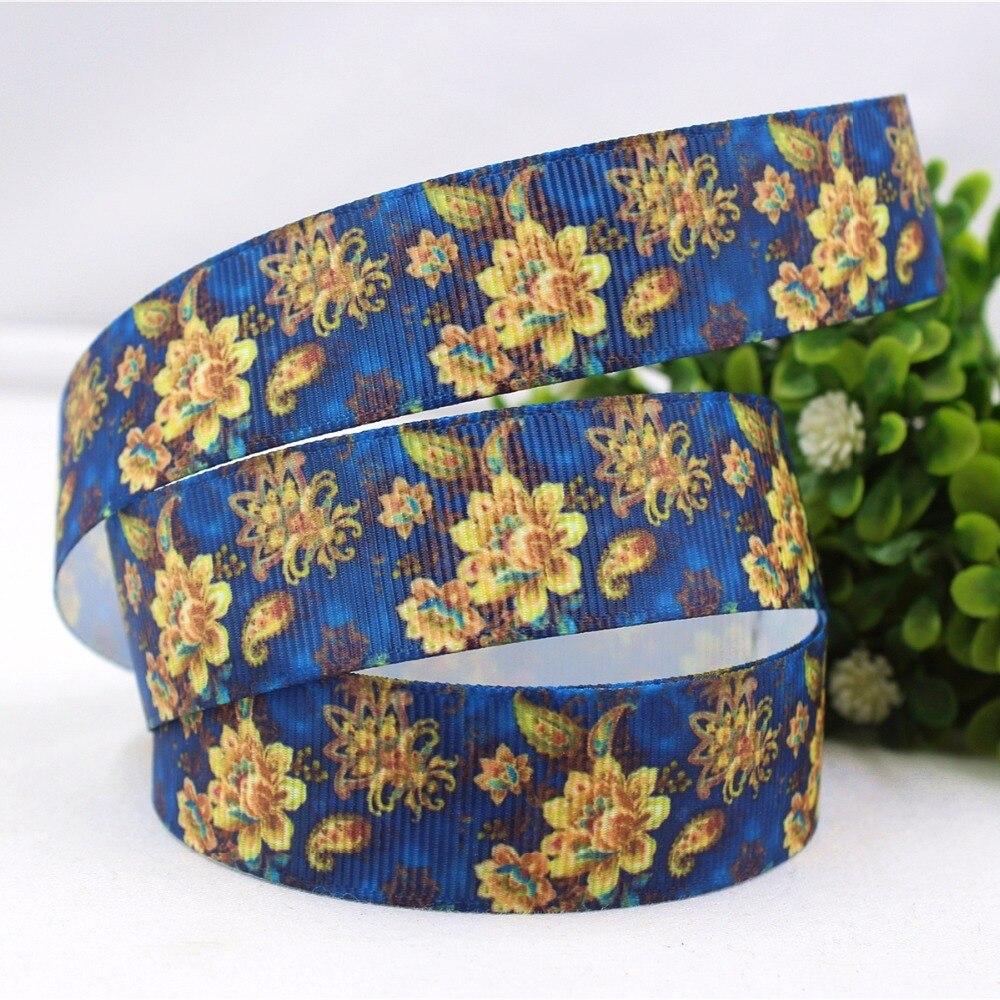 1 ''(25 мм) крашеный цветок напечатанный Grosgrain лента полиэстер мультфильм Лента аксессуар в стиле «haribow» подарочная упаковка, md71429