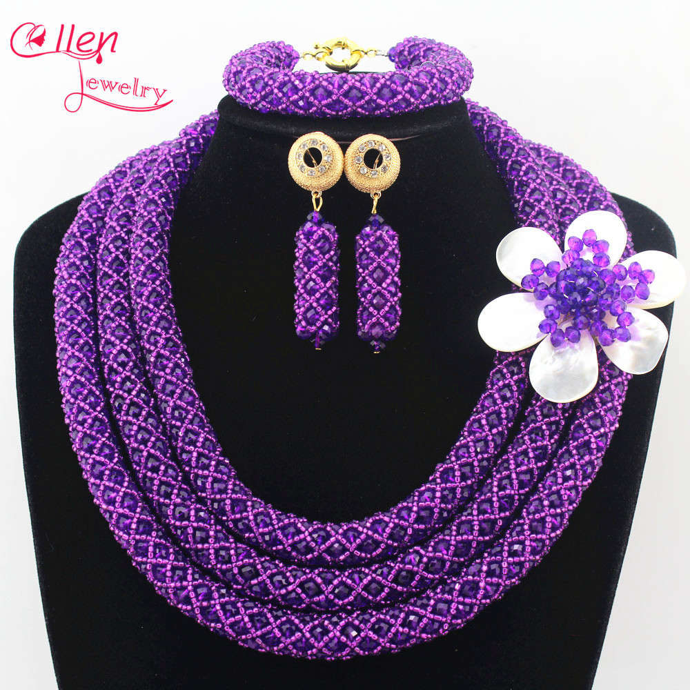 цена Luxury Crystal Nigerian Wedding Bridal Jewelry Sets African Beads Jewelry Set Handmade Necklace Sets Bracelet Earrings N0008 онлайн в 2017 году