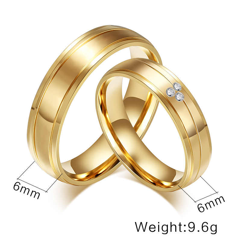 dee410424a ... No Fade 6MM Stainless Steel Wedding Ring For Lovers IP Gold Color  Zircon Crystal Couple Rings ...