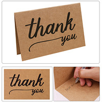 TAOS 30PCS Vintage Kraft Paper Thank You Greeting Holiday Blessing Cardswith Envelop for Christmas Birthday Thanksgiving Day