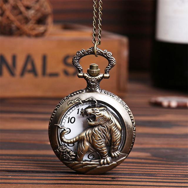 AAA Retro Design Pocket Watch Hollow Tiger Fob Watch Vintage Bronze Pocket Watch Necklace Chain Pendant Girt For Women Men