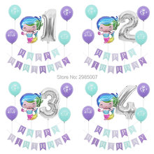 mermaid birthday party balloons kid girl boy 1 2 3 4 5 6 7 8 9 years old 1st 2nd birthday party digital balloon banners(China)