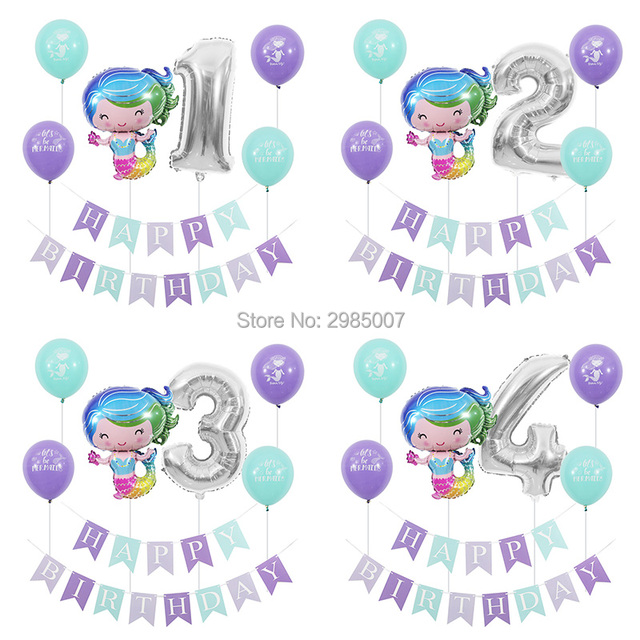 mermaid birthday party balloons kid girl boy 1 2 3 4 5 6 7 8 9 years old 1st 2nd birthday party digital balloon banners