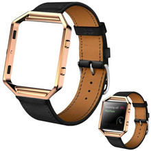 Luxury Genuine Leather Watch band Wrist strap + Metal Frame For Fitbit Blaze Smart Watch Free shipping