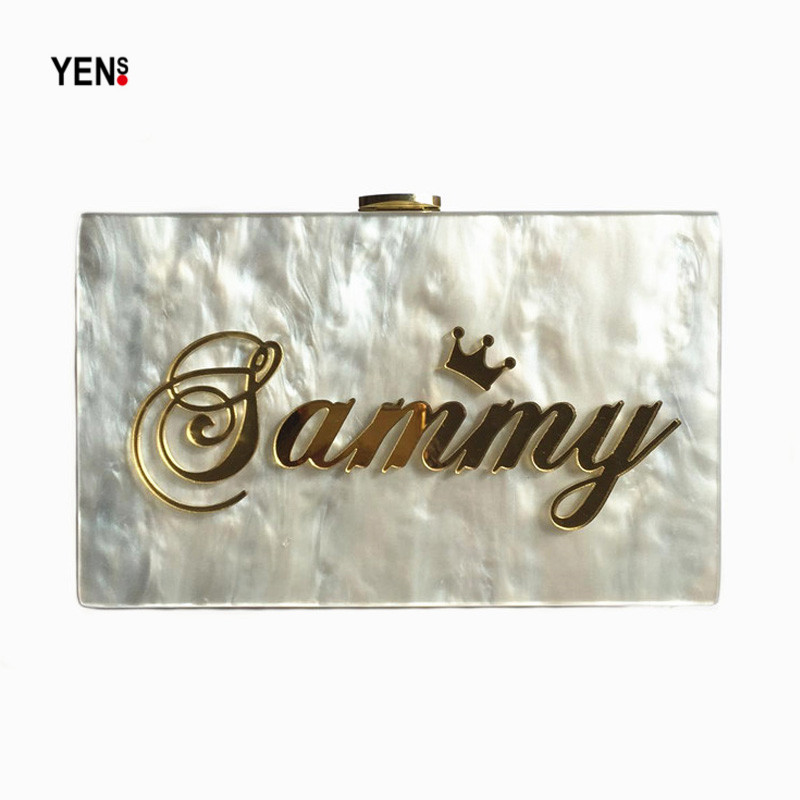 YENS Handmade Acrylic Clutch Customized Name Bag Unique Letter Handbag Evening Bag Wedding Bridesmaid Bag Mini Box Wallet Purse