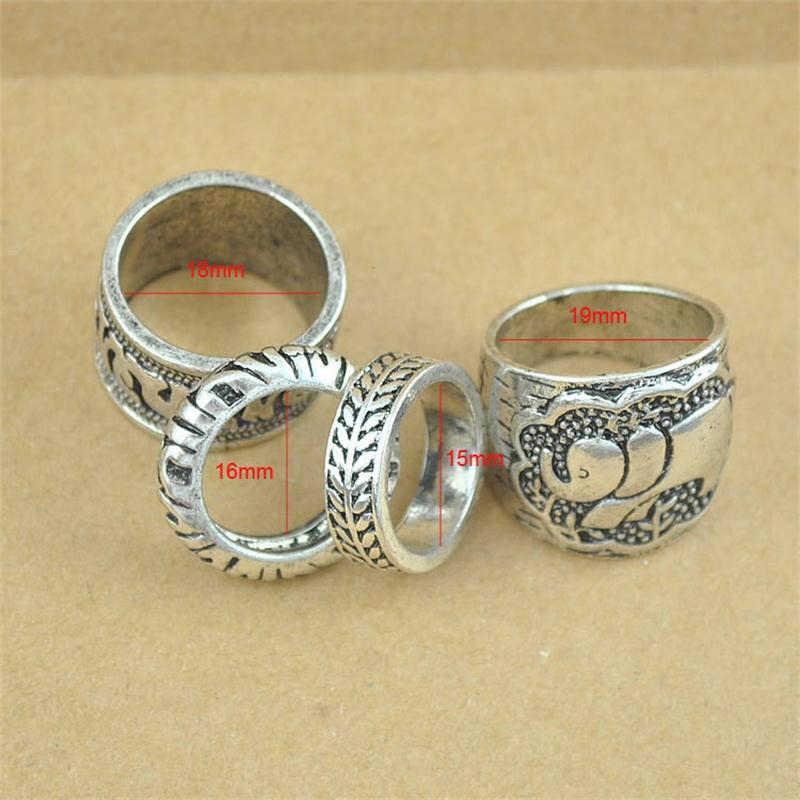 4 יח'\סט בציר כסף מצופה פאנק טבעת סט פיל טוטם עלה מזל טבעות לנשים Boho חוף תכשיטים