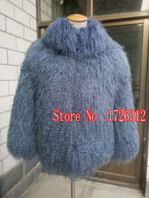 Mongolian sheep fur coat with collar beach wool coat jacket female can be customized size