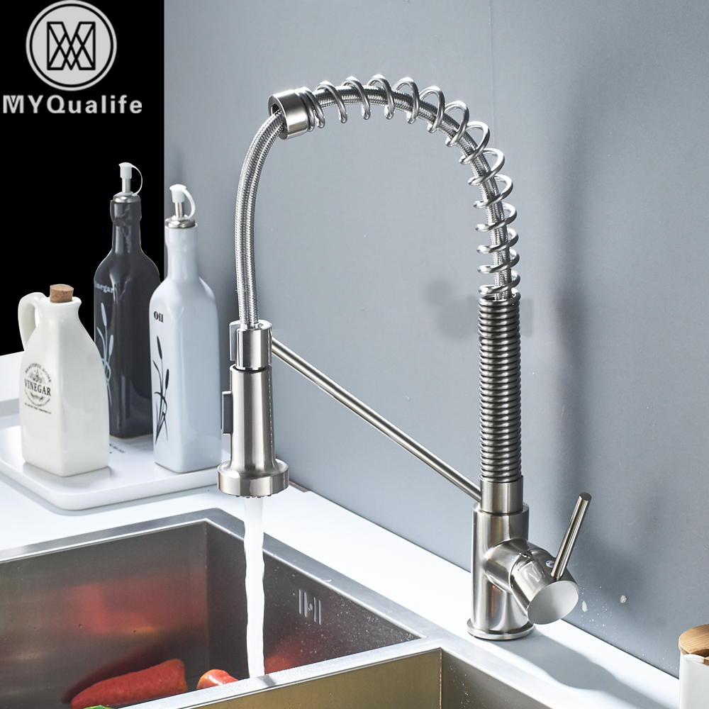 Deck Mounted Spring Pull Down Kitchen Faucet Sprayer Stream Spout ...