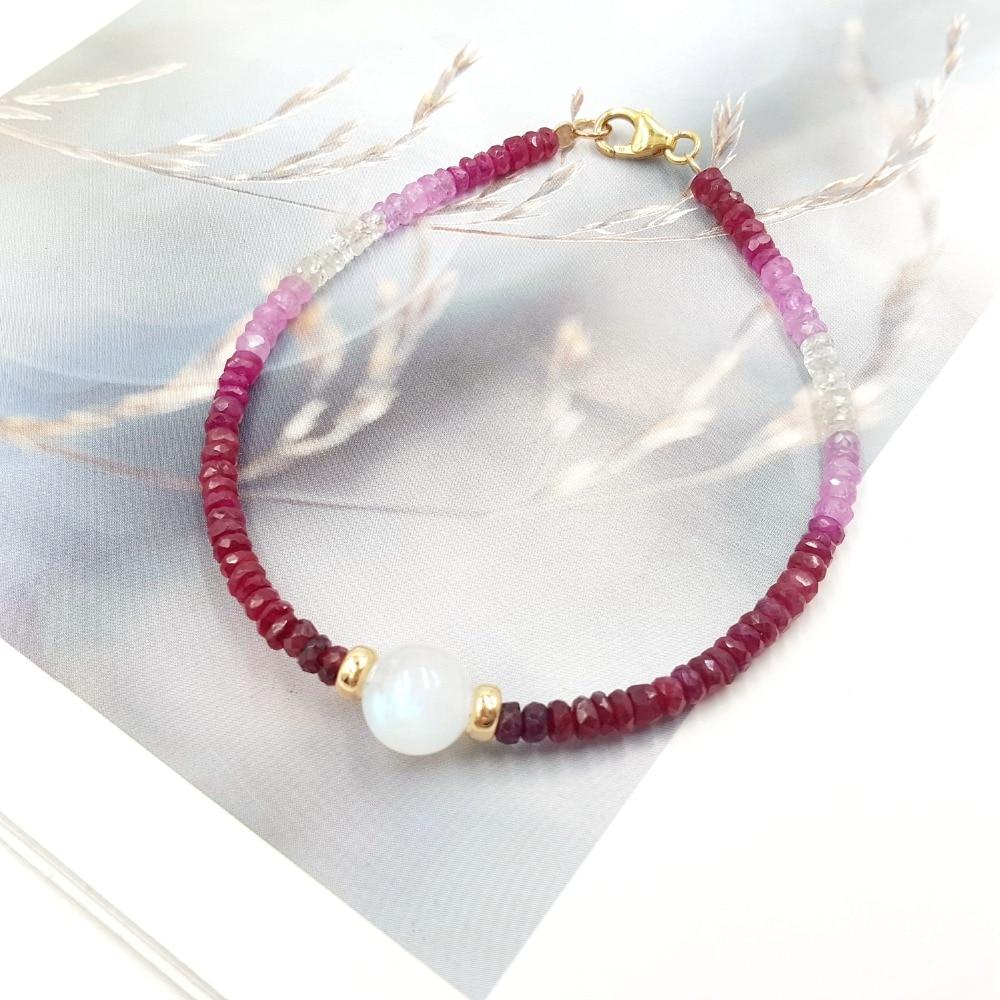 Lii Ji натуральный драгоценный камень Сияющий Рубин Sappbire лунный камень 9K GF/18 K желтое золото браслет