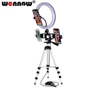 Image 1 - Волнистых волос 16, 26 см фотографии затемнения светодиодный селфи кольцо светильник Youtube мобильного телефона в реальном времени макияж лампа фотостудии держатель телефона USB разъем