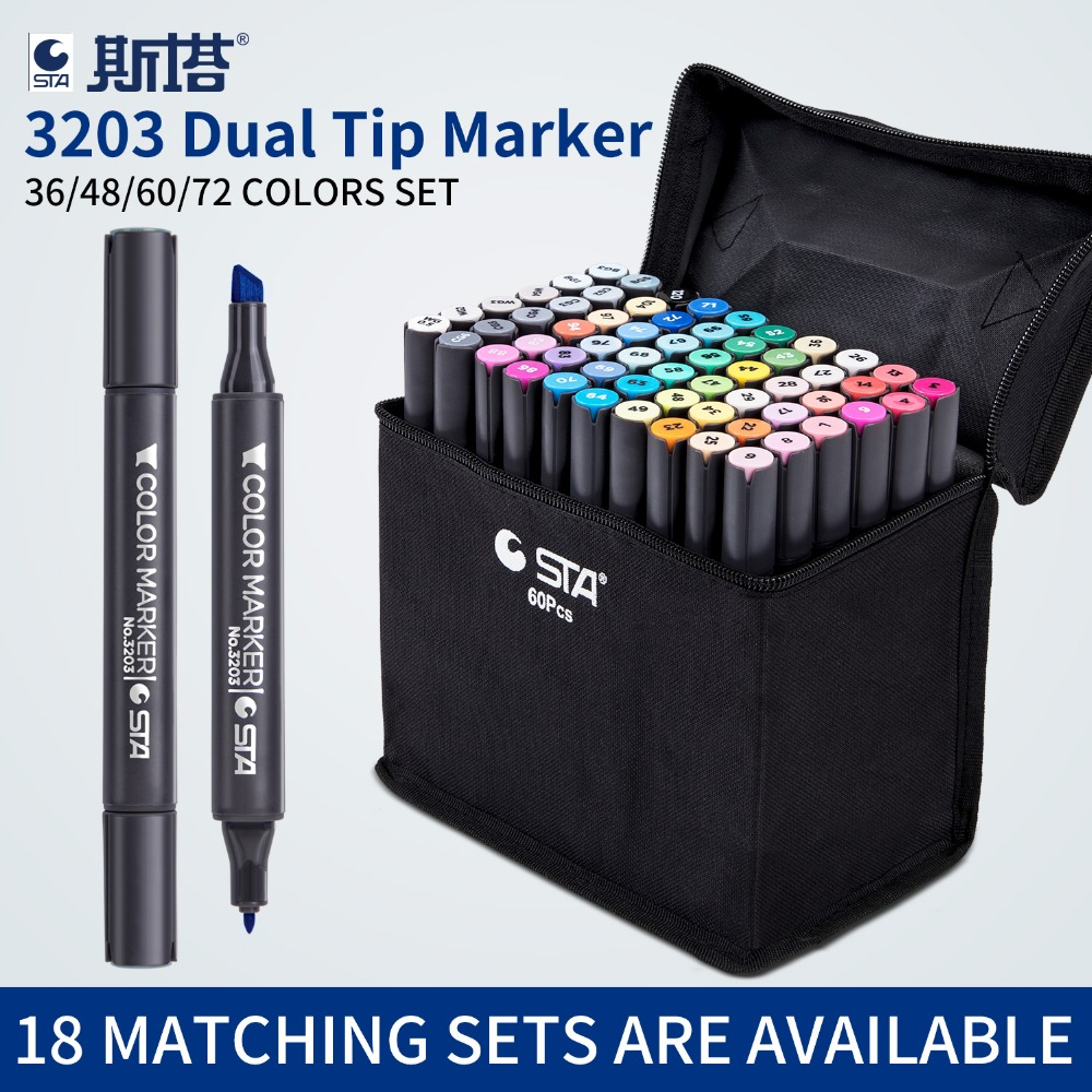 STA 36/48/60/72 Colors Art Markers Alcohol Based Markers Drawing Pen Set Comic Dual Headed Sketch Marker Design Pens Supplies 36 48 60 72 marker colors set double headed marker pen paint art sketch darwing copic marker pens in high quality