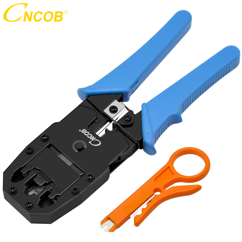 CNCOB Cable Crimper, 3 In Modular Crimping Tool For Crts,strips,and Crimps 8P8C/RJ-45,6P6C/RJ12, 6P4C/RJ-11,4P4C/4P2C