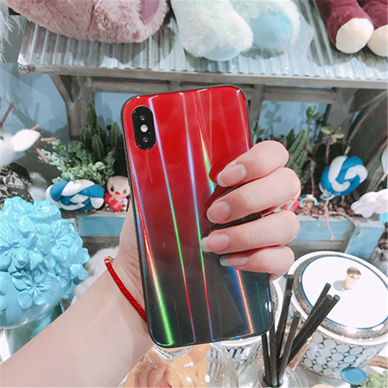 BONVAN For iPhone X 7 8 Plus Tempered Glass Back Case Gradient Color Laser Aurora Silicone Bumper For iPhone 7 6S 8 6 Plus Cover18