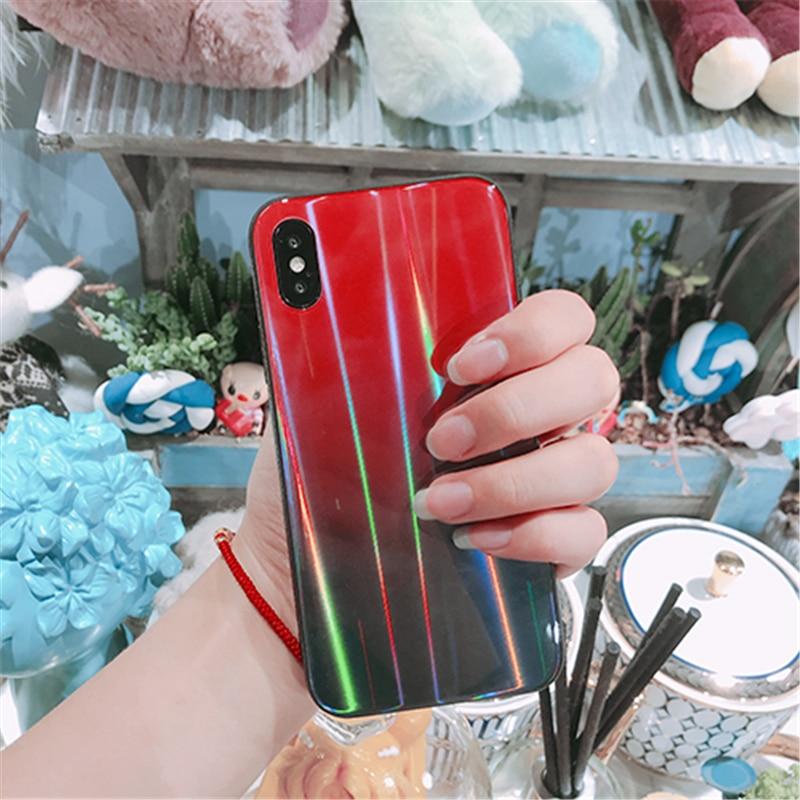 BONVAN For iPhone X 7 8 Plus Tempered Glass Back Case Gradient Color Laser Aurora Silicone Bumper For iPhone 7 6S 8 6 Plus Cover18