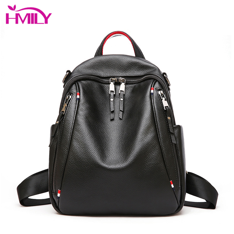 HMILY Trendy Women Backpack Genuine Leather Shoulder Bag For Ladies Daily Shopping Female Sweet Fashion Women