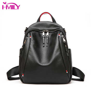 HMILY Trendy Women Backpack Genuine Leather Shoulder Bag For Ladies Daily Shopping Female Sweet Fashion Women Bag Daypack - DISCOUNT ITEM  50 OFF Luggage & Bags