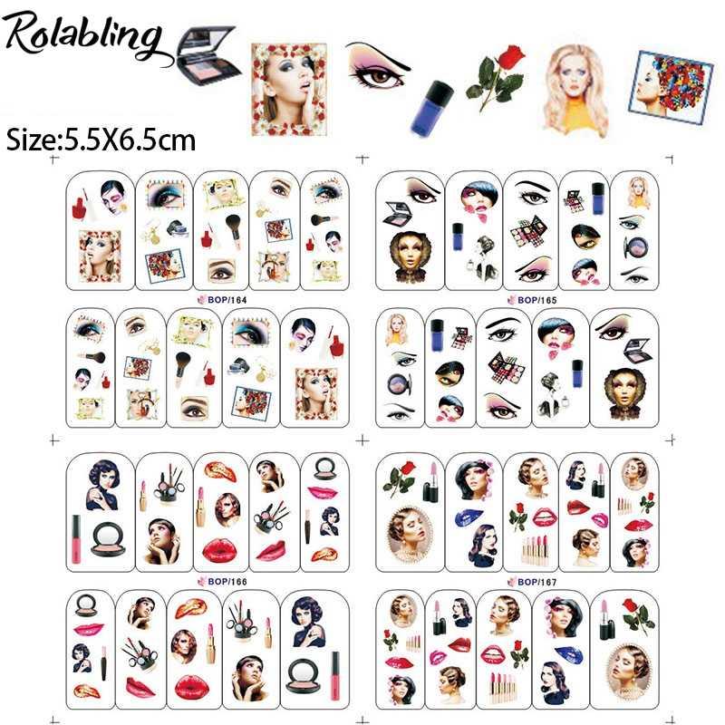 Горячая продажа различных выражений и красивых девушек водная слайдер наклейка бумага украшения ногтей для красоты женщин