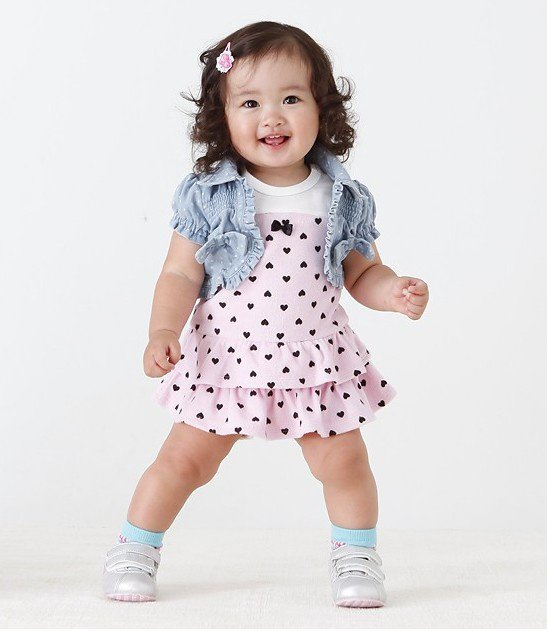 e0885ae293a4 Girls cute love and denim jacket baby dress-in Dresses from Mother ...