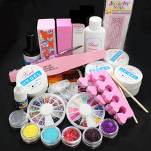 NEW Acrylic Glitter Powder Glue File Nail Art UV Gel Tips #168 Full Kit Set Ship From Russian