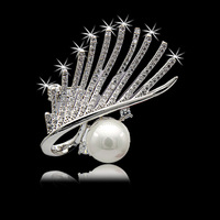 S Vex High Grade Crystal Brooch Lash Zircon Pearl Brooches Pearl Flower Pins Eyes Style Jewelry