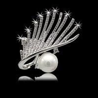 S Vex High Grade Crystal Brooch Lash Zircon Pearl Brooches Pearl Flower Pins Eyes Style Jewelry