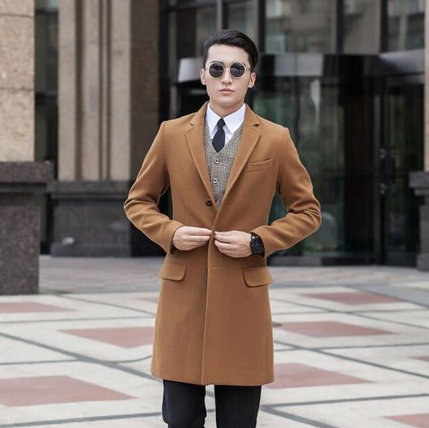 Cáqui cinza preto azul casual Single-breasted casaco de lã dos homens 2017 casacos trench coats casaco de lã sobretudos dos homens dress inverno s 9XL