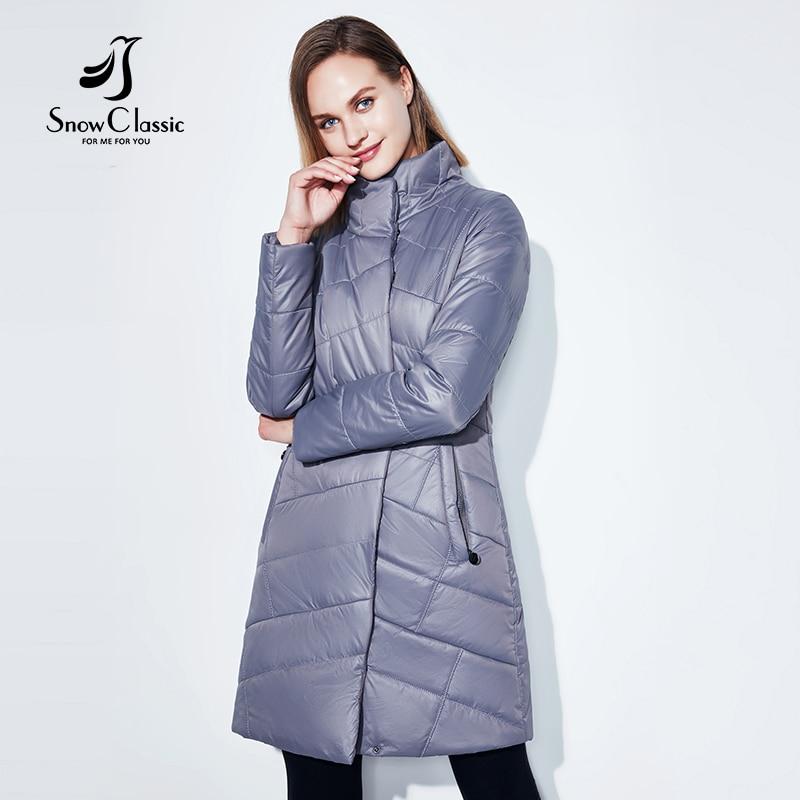 SnowClassic nuevo abrigo de mujer abrigo largo de moda de algodón fino abrigo cálido gabardina corta de alta calidad mujeres europeas 2018