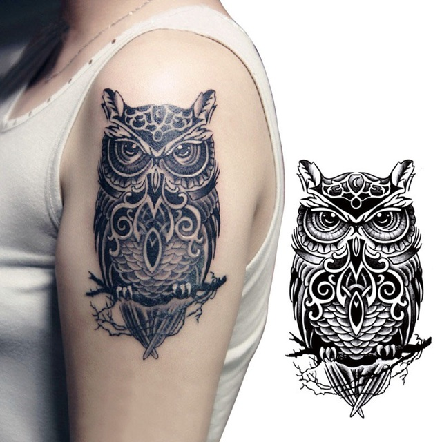 Vintage Black Owl Arm Fake Transfer Tattoo Sexy Large Temporary Tattoos Sticker Men Women Body Art 21x15cm