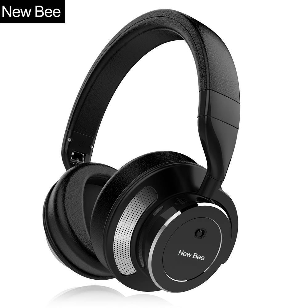 New Bee Active Noise Cancelling Wireless Bluetooth Headphone Stereo Deep Bass Headset Over-ear Earphone with Mic for Phone PC k9 bluetooth headset bluetooth v4 1 earbuds wireless earphone voice promote noise cancelling headphone for phone pc ear hook