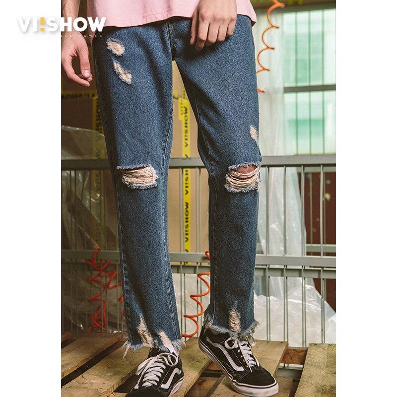 VIISHOW New Men Classic Jeans Brand Hole Straight Pantalon Homme Jean Slim Distressed Design Biker Denim Pants Blue Men Jeans new 2017 brand men s jeans casual straight hole men jeans men denim trousers biker jeans free shipping