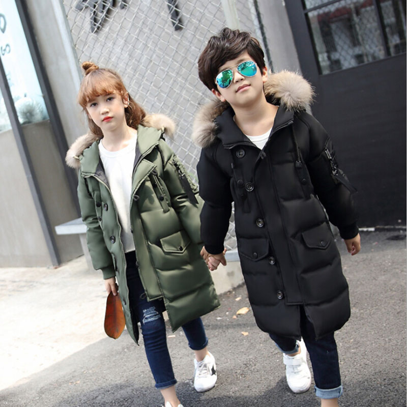 White Duck Down 2017 New Children Winter Padded Jacket Long Sections Teen Boy Big girls Thick Coat Jacket for Kids 5-16 Years children s 2017 winter new children s down jacket big girls in the korean version of the girls down jacket long thick coat