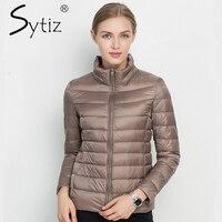 Sytiz עמדה מוצקה מעיילי שיק חם נשים 2017 החורף למטה מעיל 90% ברווז לבן אור Slim סתיו מעילי שרוול ארוך באיכות גבוהה