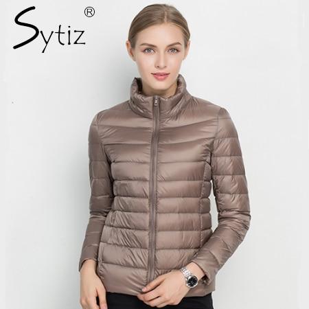 Sytiz 2017 зимнее пуховое пальто Для женщин теплая Chic Мужские парки Твердые Стенд 90% белая утка Куртки с длинными рукавами свет тонкий Осень Высокое качество