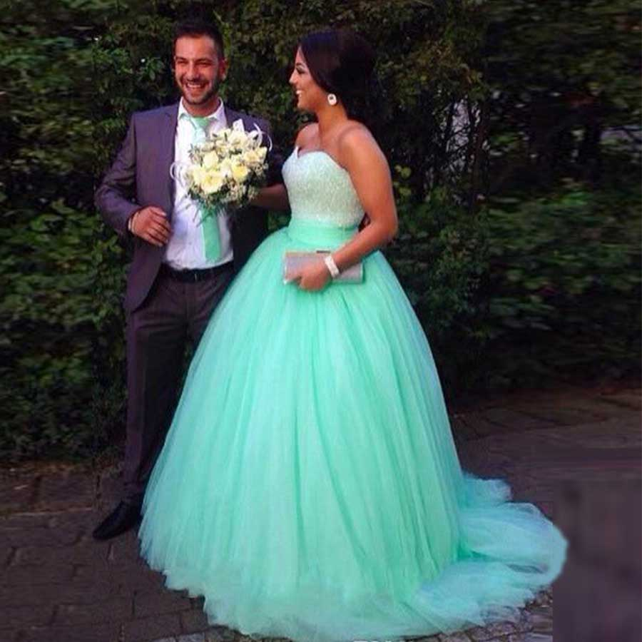 Cheap Masquerade Ball Gowns Puffy Mint Green Quinceanera Dresses ...