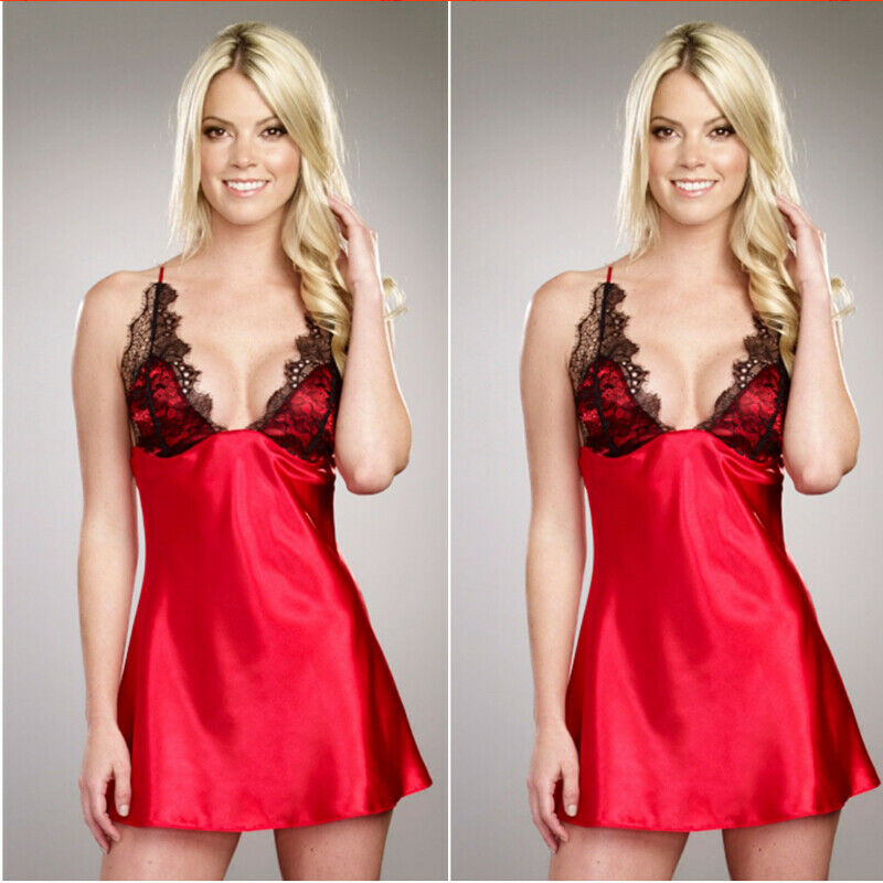 Women Ladies Sexy Low Collar Lace Dress Sleepwear   Nightgowns     Sleepshirts   Underwear Night Dress