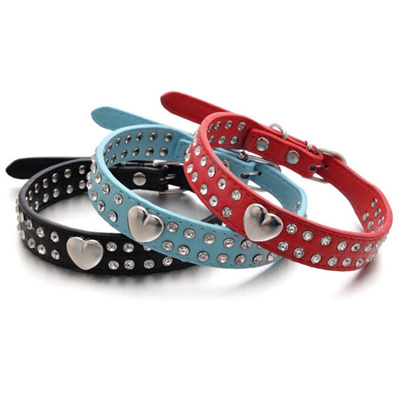 Dog Collar Bling Crystal Rivet Heart PU Leather Pet Collar Puppy Choker Cat Necklace S M 5Colors #03
