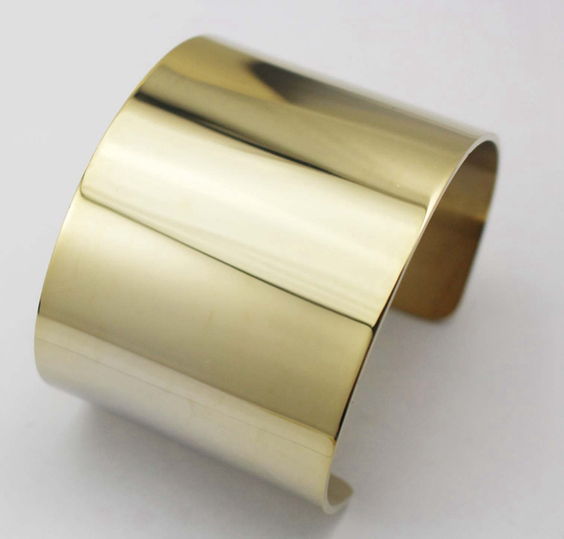 2016 Fashion Yellow Gold Color wide cuff Bangle Bracelet Stainless Steel Bracelet Bangles Europe and American concise