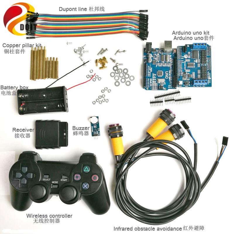 Kit de commande de poignée sans fil avec carte UNO + carte d'entraînement de moteur + contrôleur de manette + évitement d'obstacle IR + Buzzer pour voiture Arduino