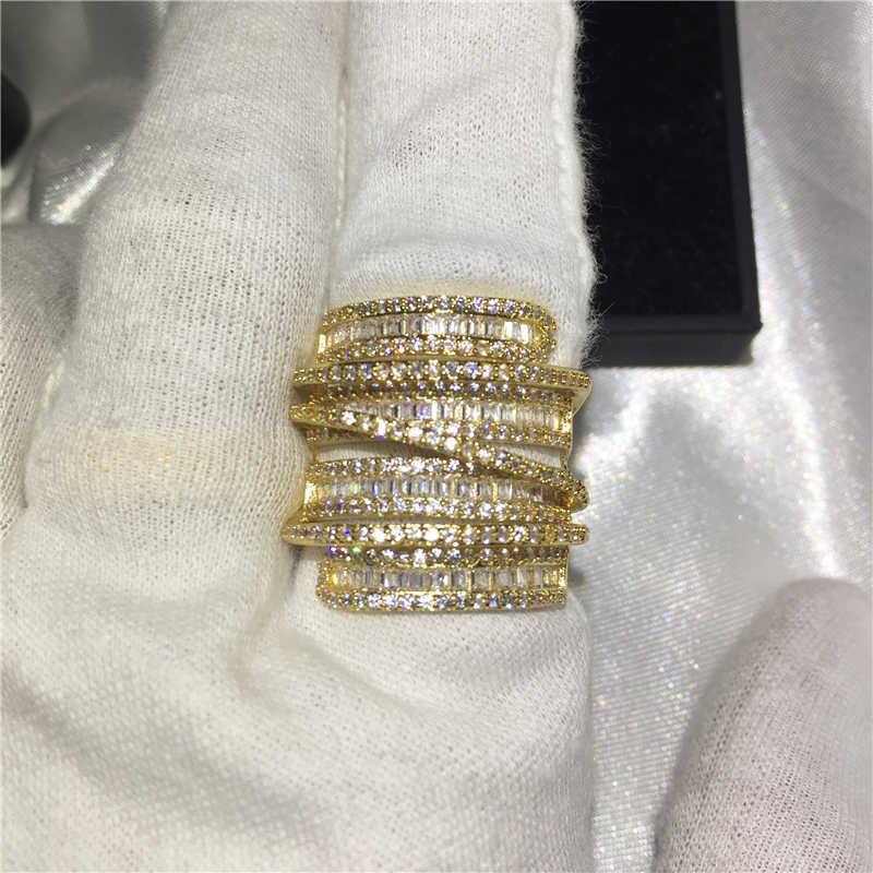 Желтое золото заполнено 925 Серебряное кольцо на палец Роскошные Большие обручальные Обручальные кольца для мужчин и женщин T Форма фианит AAAAA Jewelr