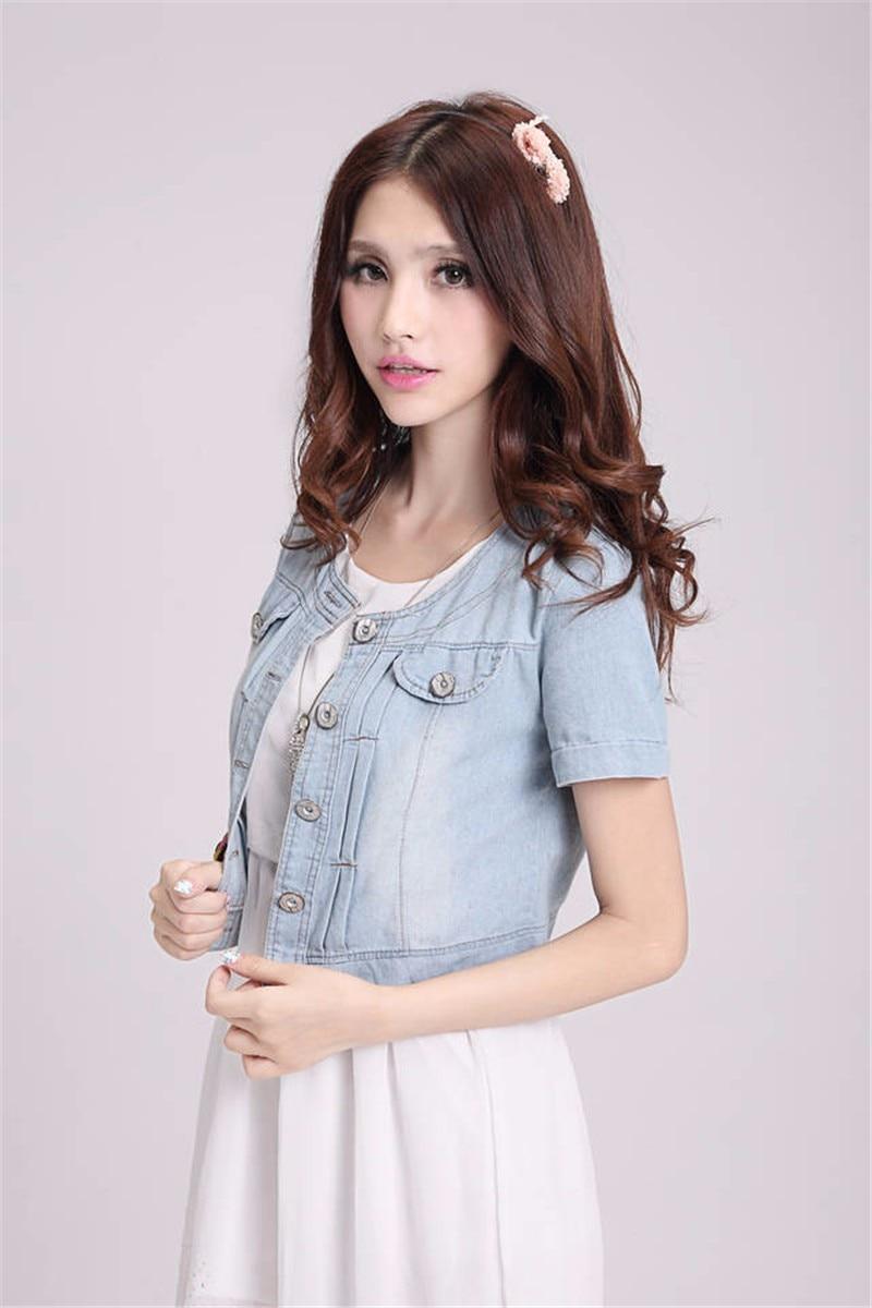 New Denim Slim Fit Jeans Coat Coats Short Sleeve Summer Female Jacket Women