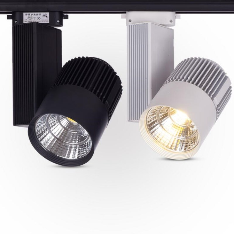 Free Shipping White Black COB LED track light 30W LED track spot light ceiling LED track spotlight 30W LED track lamp AC85-265V wired 30w 2700lm 6000k white light led spotlight lamp silver black 90 240v